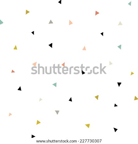 Triangle Confetti Background Pattern. Repeating Triangle Vector Pattern. Cute Triangle Vector Background - stock vector