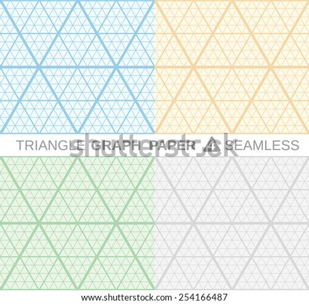 Triangle Graph Paper. Set of 4 seamless backgrounds. - stock vector