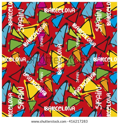 Triangle hand drawn vector seamless pattern. Gaudi mosaic pattern and words Spain and Barcelona. Antonio Gaudi pattern. Barcelona pattern - stock vector