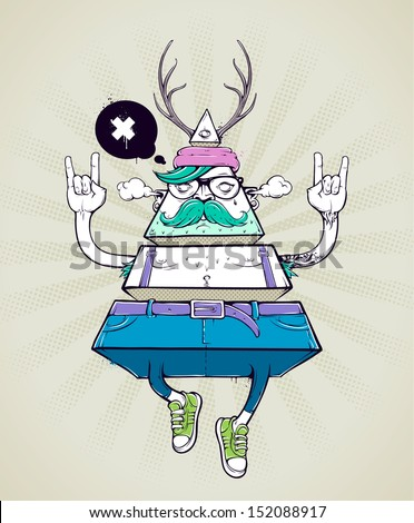 Triangle hipster bizarre character. Hand-drawn poster with graffiti hipster dude. Vector illustration. - stock vector