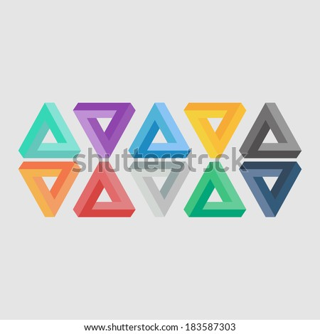 Triangle illusion icons. Minimal penrose signs. Penrose tribar symbols. Flat color. Impossible elements. Abstract icons, with simple background. Vector illustration - EPS10. Easy to edit. - stock vector