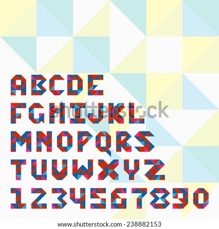 Triangle mosaic font for icons in web and apps.  - stock vector