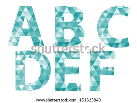 Triangle pattern letters- A B C D E F - stock vector