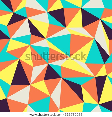 Triangle Seamless Pattern. Retro colors.  - stock vector