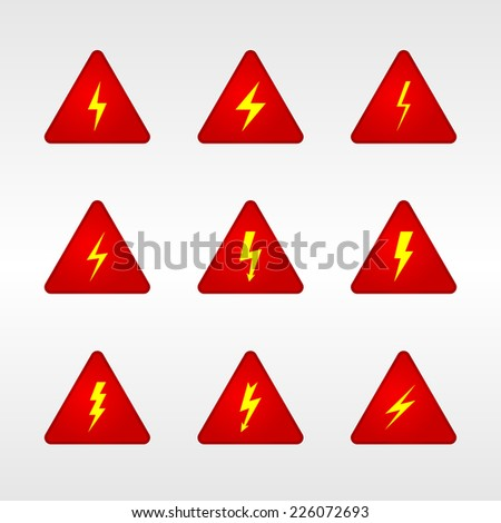 triangle sign warning electricity - stock vector