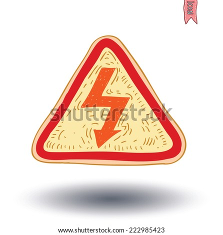 Triangle sign with high voltage icon - vector illustration - stock vector