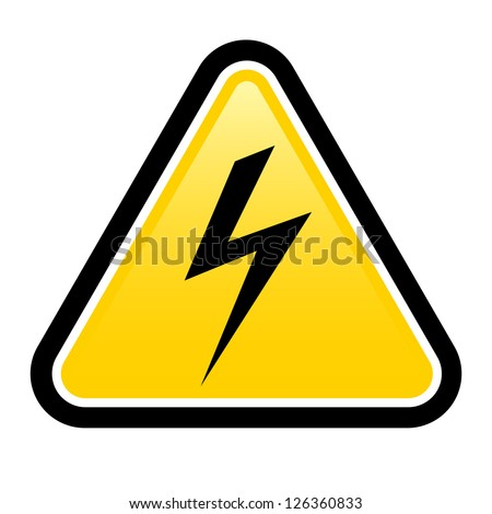 Triangle sign with high voltage symbol isolated on white - stock vector