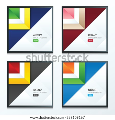 triangle template vector set 4 item - stock vector