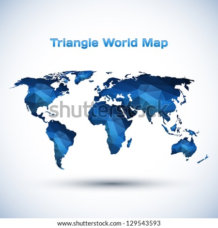 Triangle World Map Illustration - stock vector