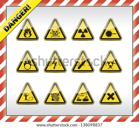Triangle yellow Danger symbols - stock vector
