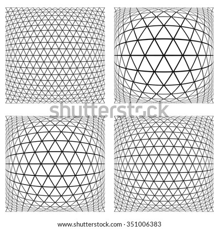 Triangles, diamonds and hexagons patterns. 3D geometric latticed textures.  Design elements set. Vector art. - stock vector