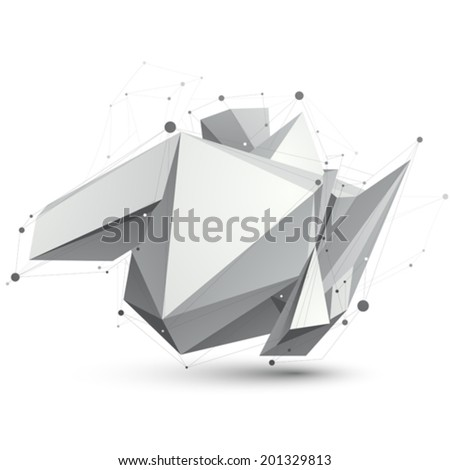 Triangular abstract grayscale 3D shape, vector digital eps8 lattice object. - stock vector