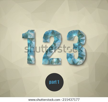 triangular crystal numbers abstract blue - stock vector