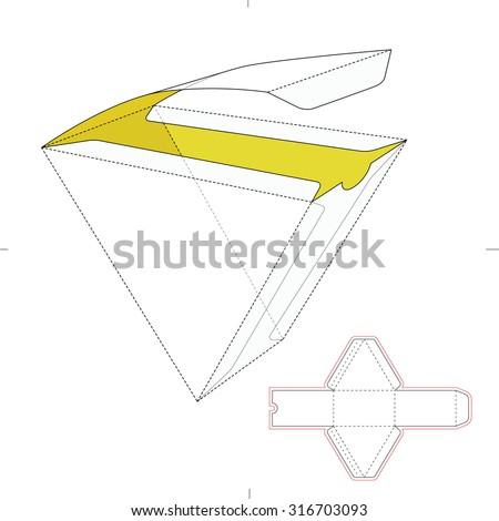 Triangular Fast Food Box  with Die Line Template - stock vector