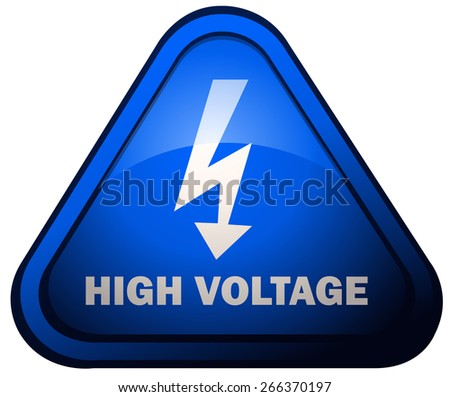 Triangular High Voltage Warning Sign, Vector Illustration isolated on White Background. - stock vector