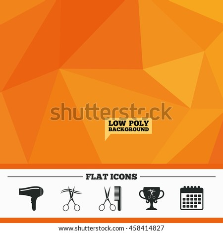 Triangular low poly orange background. Hairdresser icons. Scissors cut hair symbol. Comb hair with hairdryer symbol. Barbershop winner award cup. Calendar flat icon. Vector - stock vector