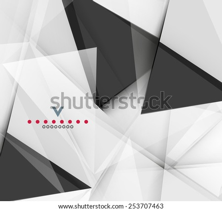 Triangular modern abstract background. 3d geometric shapes on grey - stock vector