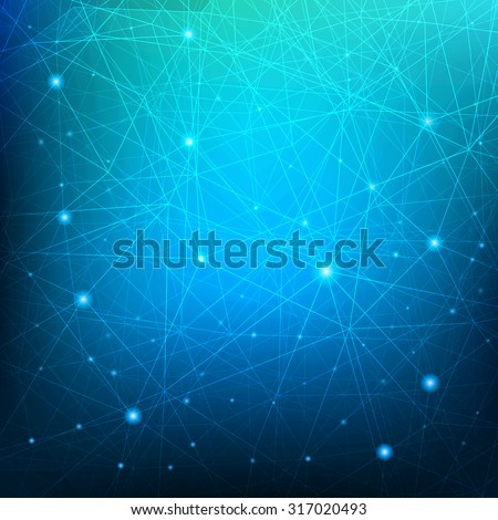 Triangular tech background with connections. Vector illustration. - stock vector