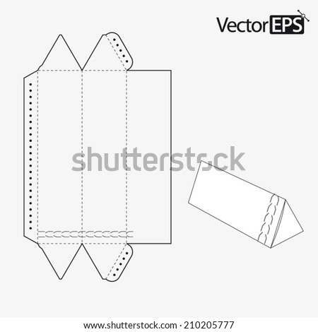 Triangular tube with zipper - stock vector