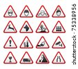 Triangular Warning Hazard  Signs set - stock vector