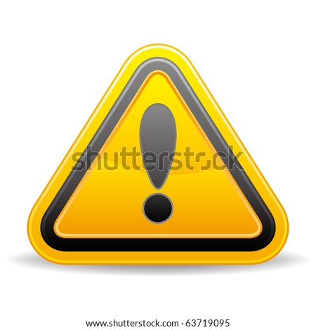 triangular warning sign on white background - stock vector