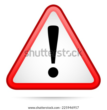 Triangular warning sign with exclamation point. ... caution, attention. #2 red version - stock vector