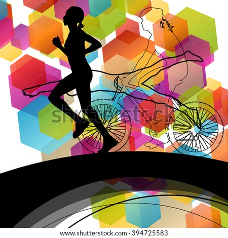 Triathlon athlete women active concept silhouettes in abstract sport landscape background illustration vector - stock vector