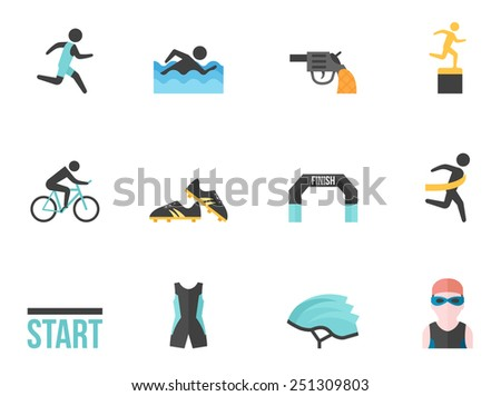 Triathlon icon series in flat color style  - stock vector