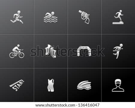 Triathlon icon series  in metallic style. - stock vector