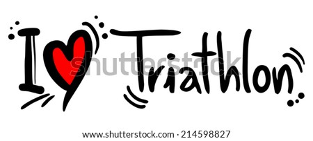 Triathlon love - stock vector