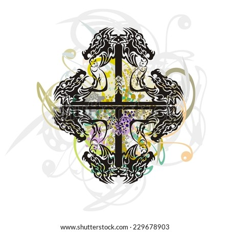 Tribal abstract cross formed by the dragon heads with splashes - stock vector