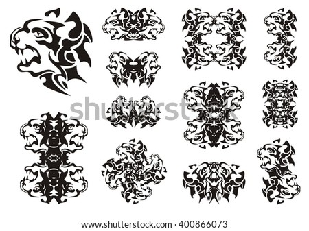 Tribal aggressive dog symbols. The twirled symbols of the head of the furious barking dog - stock vector