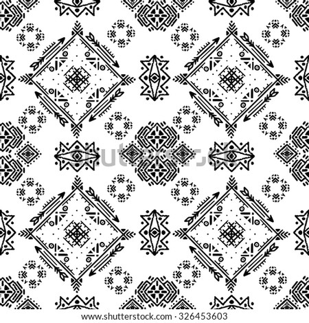 Tribal art ethnic seamless pattern. Boho print. Ethno ornament. Cloth design, wallpaper, wrapping - stock vector