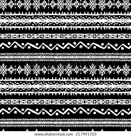 Tribal art ethnic seamless pattern. Folk abstract geometric repeating background texture. Fabric design. Wallpaper - stock vector