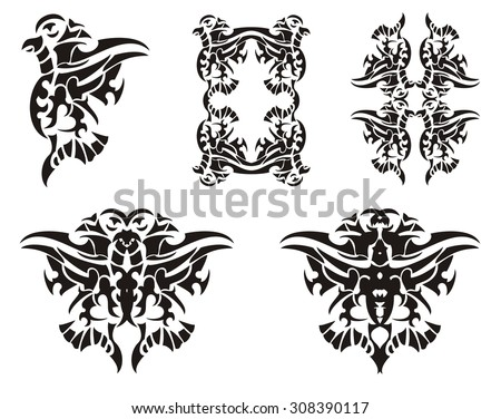 Tribal bird elements. Vector freakish flying bird, the frame of a bird and butterfly formed by a bird - stock vector