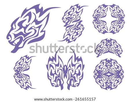 Tribal blue lion head and lions symbols. Tribal growling lion's head, lion's circle and lion's elements. Blue on the white - stock vector