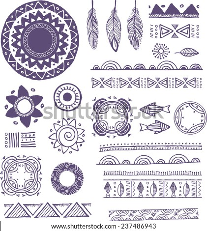 Tribal, Boho, Bohemian Mandala background with round ornaments, patterns and elements. Hand drawn vector illustration - stock vector