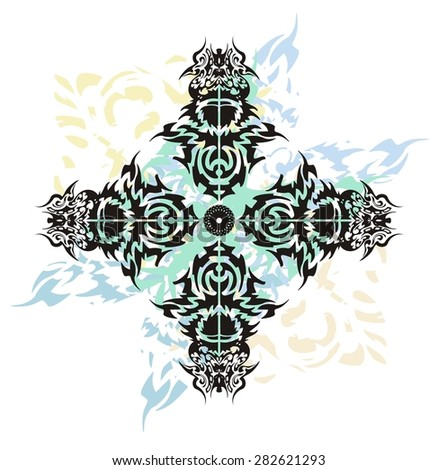 Tribal cross splashes tattoo. Grunge abstract cross formed by the birds heads with blue wavy splashes on a white background  - stock vector