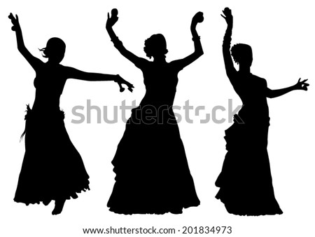 Tribal Dance Silhouettes - stock vector