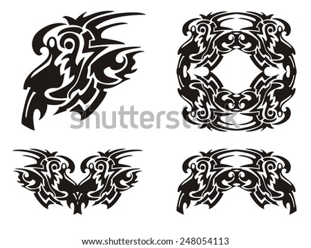 Tribal decorative elements. Set of tribal twirled symbols tattoos - stock vector