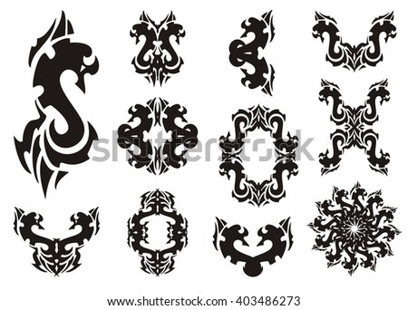Tribal dollar form and elements from it. Set of decorative stylized elements and frames isolated on a white background - stock vector
