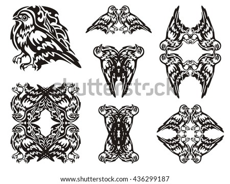 Tribal dove symbols. Frames of a dove and double pigeon symbols. Black on white   - stock vector