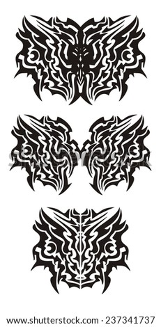 Tribal dragon butterfly tattoo - stock vector