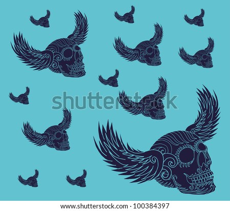 tribal eagle wings - stock vector