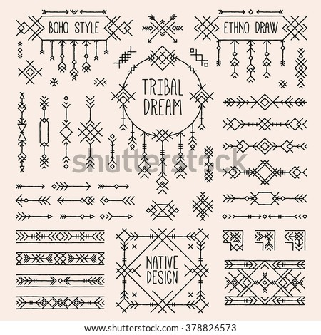 Tribal elements set. Boho style arrows, native ornament stripes. Folk geometric dividers, ethnic borders, stylized dream catcher. Indian bohemian collection of simple linear art. Native tattoo sketch. - stock vector