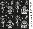 tribal ethnic decorative seamless monochrome texture - stock vector