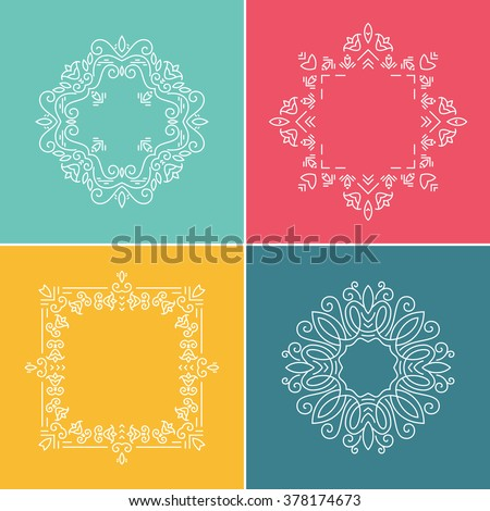 Tribal ethnic frame collection made in modern line style vector. Graceful and elegant style.  - stock vector