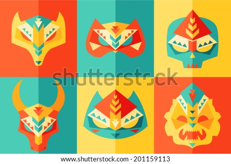 tribal, ethnic, origami, animals, mask (carnival mask) and disguises vector illustration, flat design  - stock vector