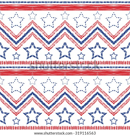 Tribal ethnic patriotic red, blue seamless pattern on white background. Vector illustration for American symbol design. USA flag. Texture wallpaper. Star, stripe and zig zag shapes. Hand drawn style. - stock vector