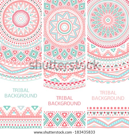 Tribal ethnic vintage banners. Vector illustration for your cute feminine romantic design. Aztec sign on white background. Pink and blue colors. Border and frame. Oriental rug napkin. Stripe pattern. - stock vector